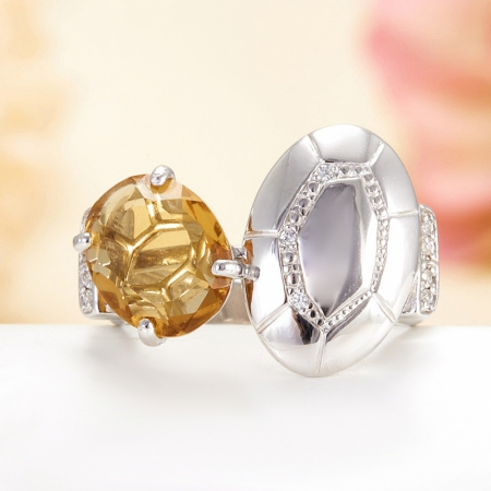 Кольцо цитрин  огранка (серебро 925 пр.) размер 17Цитрин<br>Кольцо цитрин  огранка (серебро 925 пр.) размер 17<br><br>kit: None