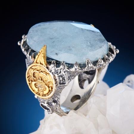 Кольцо аквамарин Тибет огранка (серебро 925 пр., позолота, чернение) размер 18,5