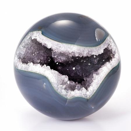 Уникальный шар-жеода агат серый  9,5 см