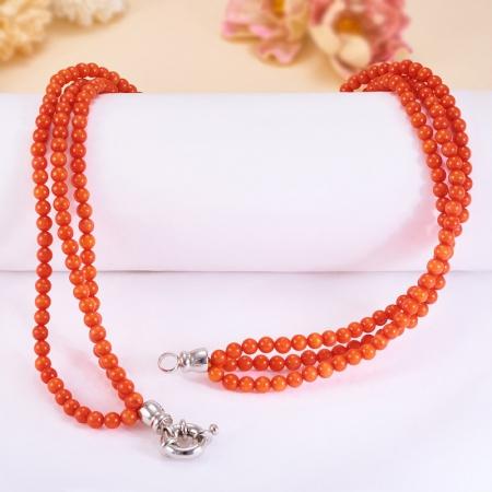 Бусы коралл оранжевый  5 мм 47 см